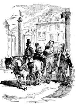"She went off in one of his carriages; her French bonne with her; the child by her side; the admirable landlord and landlady smiling farewell to her at the gate"" (Chapter 36). Image scanned by Gerald Ajam and captions by Tiaw Kay Siang and Sabrina Lim."