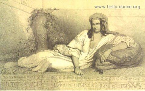 "an image of an Egyptian dancing girl called ""Une Alme"" by Edouard De Biefve"