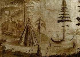 A Beothuk settlement on the Exploits River, sketch by John Cartwright, circa 1768