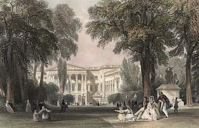 Chambers of Representatives from the Park, Brussels. Drawn by T. Allom, engraved by Bradshaw. 1841.