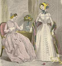 A print from vintage godey's bk. In the Forties Sleeves Were Tight and Bonnets Became Pokes