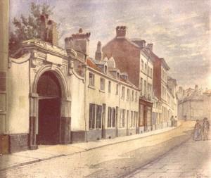 Rue d'Isabelle, 1894. Watercolour by J. Carabain