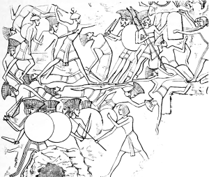 The Battle of Djahy  - Egyptians vs Sea Peoples - Ramses III http://en.wikipedia.org/wiki/Sea_Peoples