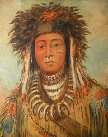 An Ojibwe named Boy Chief, by the noted American painter George Catlin, who made portraits at Fort Snelling in 1835. In 1845 he traveled to Paris with eleven Ojibwe, who had their portraits painted and danced for King Louis Philippe.